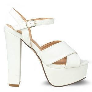 Women's Chunky Heel White High Heel Platform